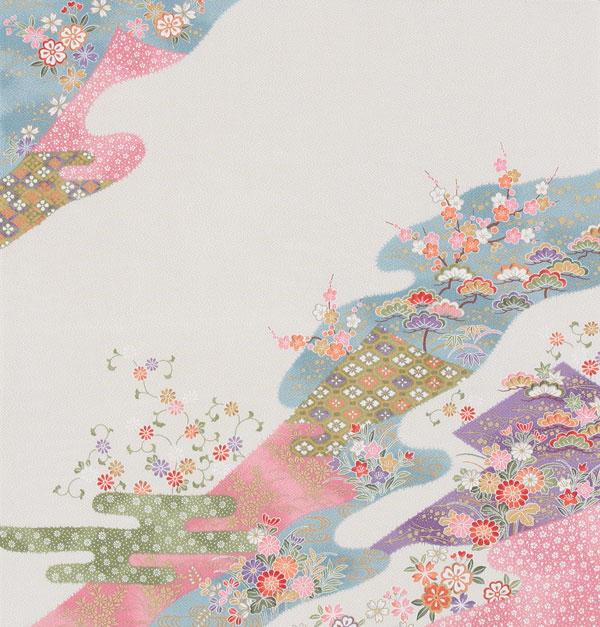 【送料無料+紙箱付】絹の風呂敷(ふろしき) 小袖小花68cm