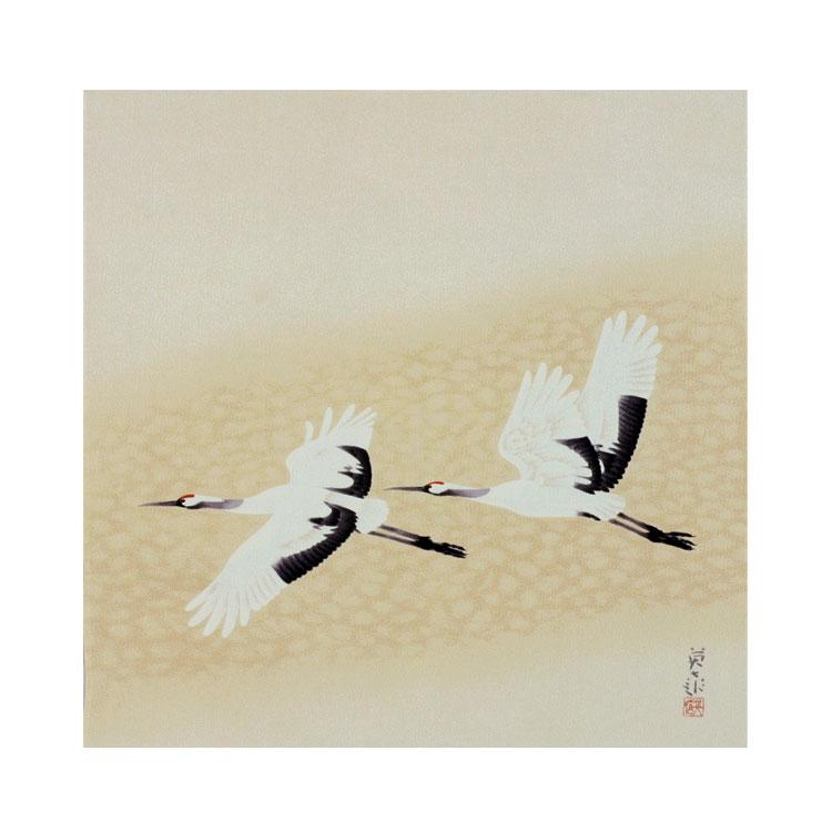 【送料無料+桐箱付】絹の風呂敷(ふろしき)岩橋英遠 飛鶴 68cm