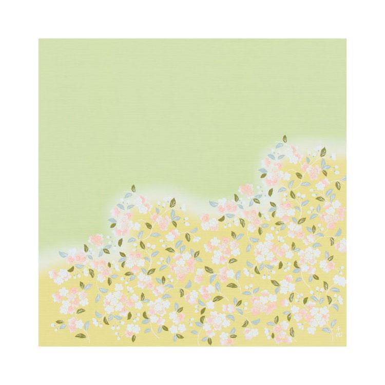 綿の風呂敷 宇野千代の愛した桜の風呂敷 裾野桜90cm幅(色:ヒワ)