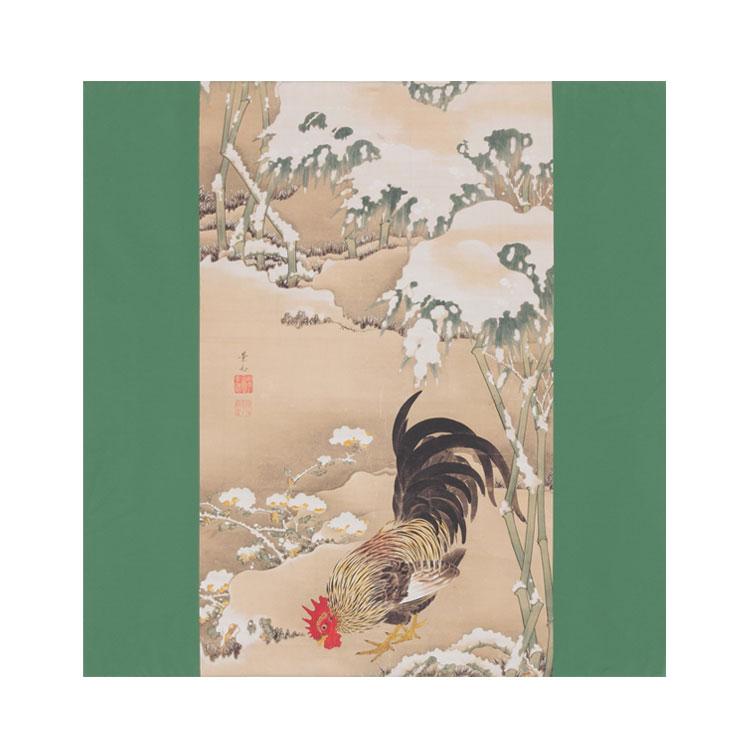 細見美術館コレクション ポリエステルの風呂敷(ふろしき)伊藤若冲 雪に雄鶏 68cm