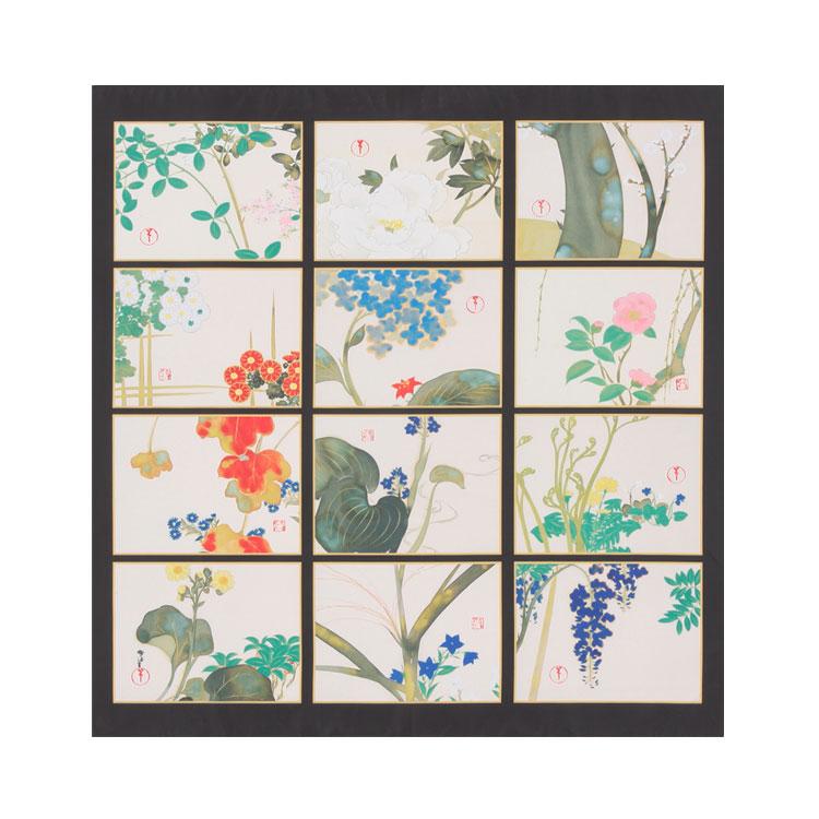 細見美術館コレクション ポリエステルの風呂敷(ふろしき)神坂雪佳 草花十二ヶ月 68cm