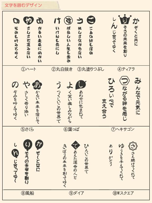 文字を囲むデザイン