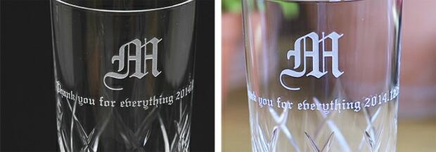 グラスの側面にお名前やメッセージを彫刻