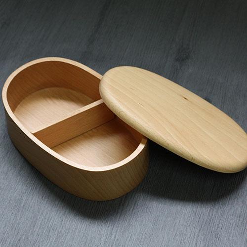 お弁当箱 おしゃれ くりぬき 小判 1段 約430cc バンド付き ブナの木 ランチボックス 木のべんとう箱