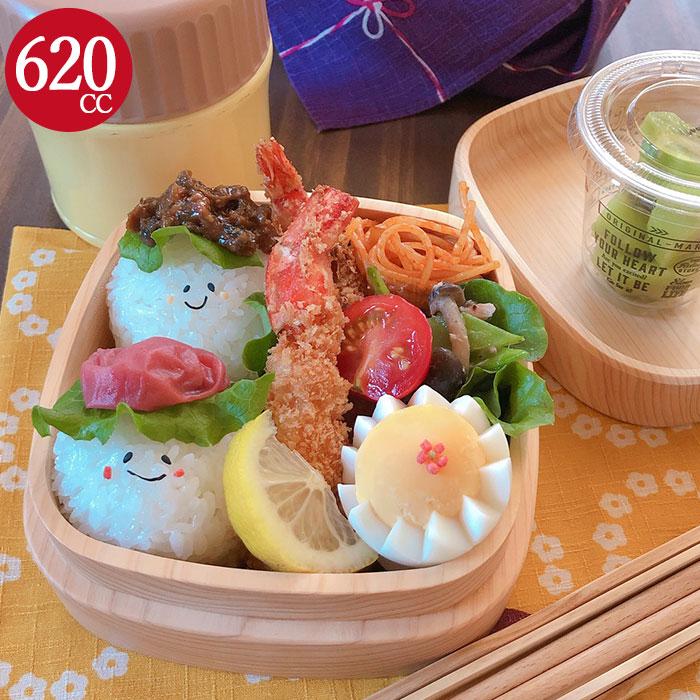 お弁当箱 日本製 食洗機対応 おしゃれ くりぬき スクエア 1段 茶 約620cc ナノコート 紀州
