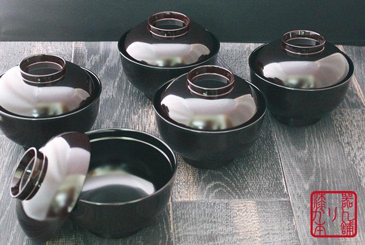 フタ付き椀 溜 福型吸物椀 5客セット 越前漆器