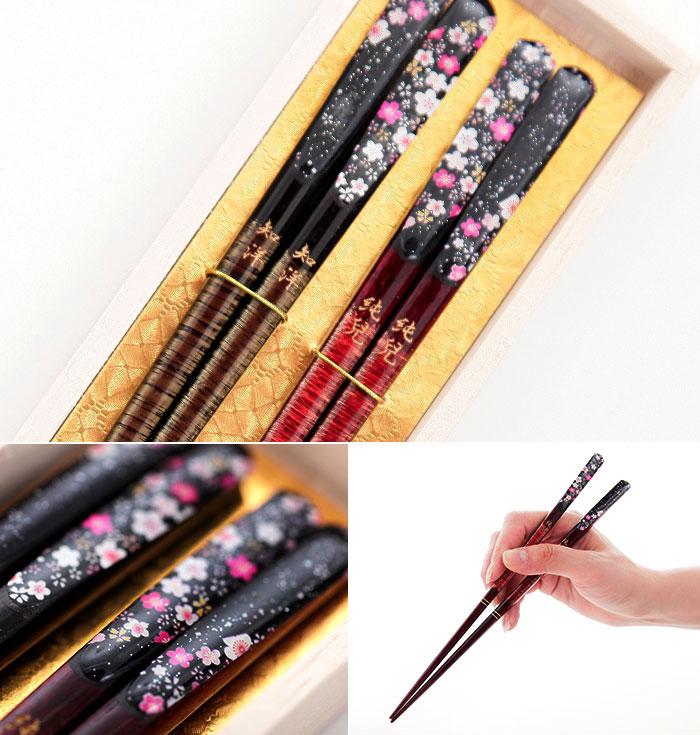 名入れ 夫婦箸セット 絵巻 桐箱彫刻 水引 ラッピング 無料 若狭塗箸 日本製
