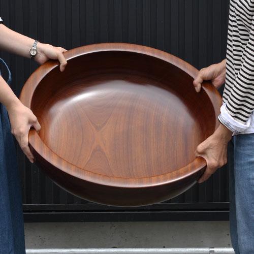 こね鉢 手こね鉢 くり抜き 木製 なつめ 特大 60cm 【代引不可】【ギフト包装不可】【 在庫限り】