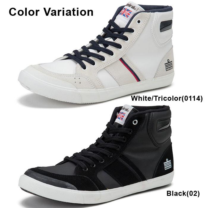 アドミラル イノマー ハイ 2 スニーカー メンズ レディース ハイカット シューズ 靴 ホワイト トリコロール ブラック 白 黒 男性 女性 Admiral INOMER HI II 送料無料