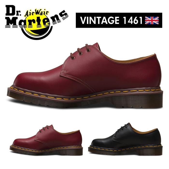 ドクターマーチン Dr.Martens VINTAGE 1461 3ホール レザーシューズ メンズ レディース レースアップ オックスブラッド チェリーレッド ブラック DrMartens 3EYE QUILON イギリス製 送料無料