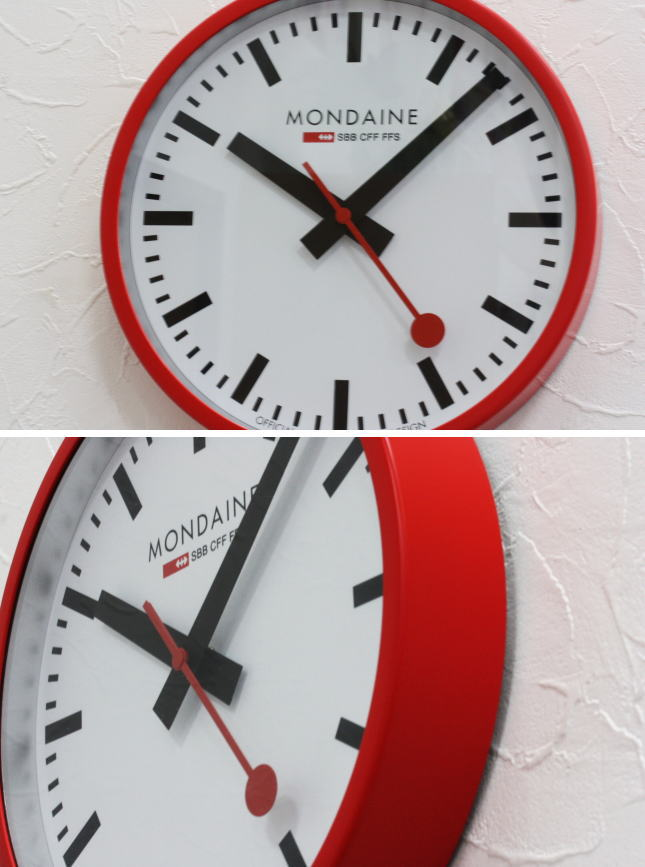 Katsuboya Switzerland Train Clock Mondainewall Clock Red