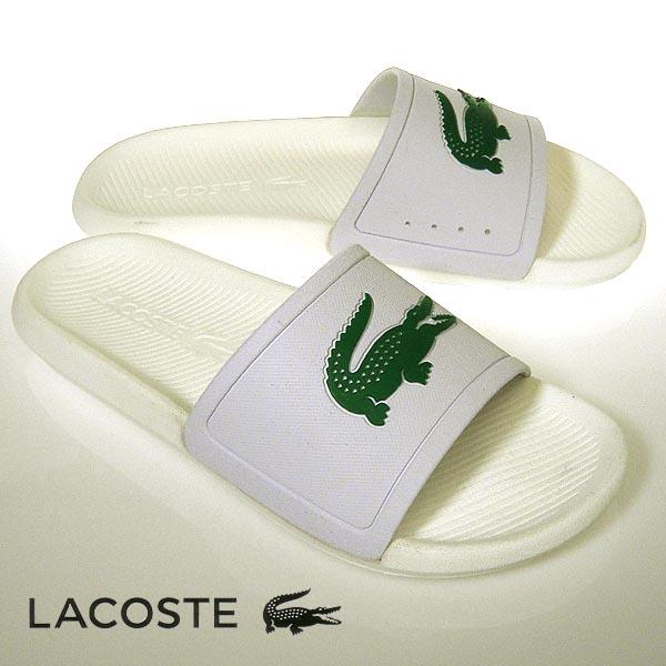 ラコステ サンダル メンズスポーツ CROCO SLIDE ホワイト/グリーン 白 lacoste CMA0018 082 クロコダイル ワニ