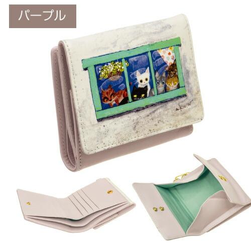 二つ折り財布本革牛革BOX型小銭入れ付き札入れ猫チャーム付き渡辺あきお猫イラストWA-006