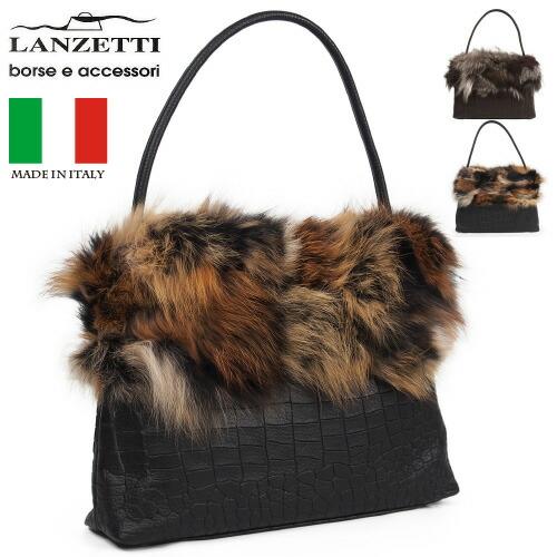 イタリア製牛革軽量ファー付きハンドバッグ型押しレディースバッグLANZETTIランゼッティArt.3333