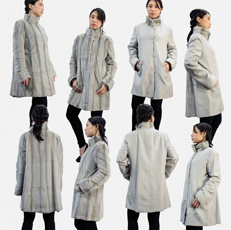 レディース 毛皮コート ファーコート シルク ウィーゼルリバーシブル スタンドカラーコート ウイングコート 7885
