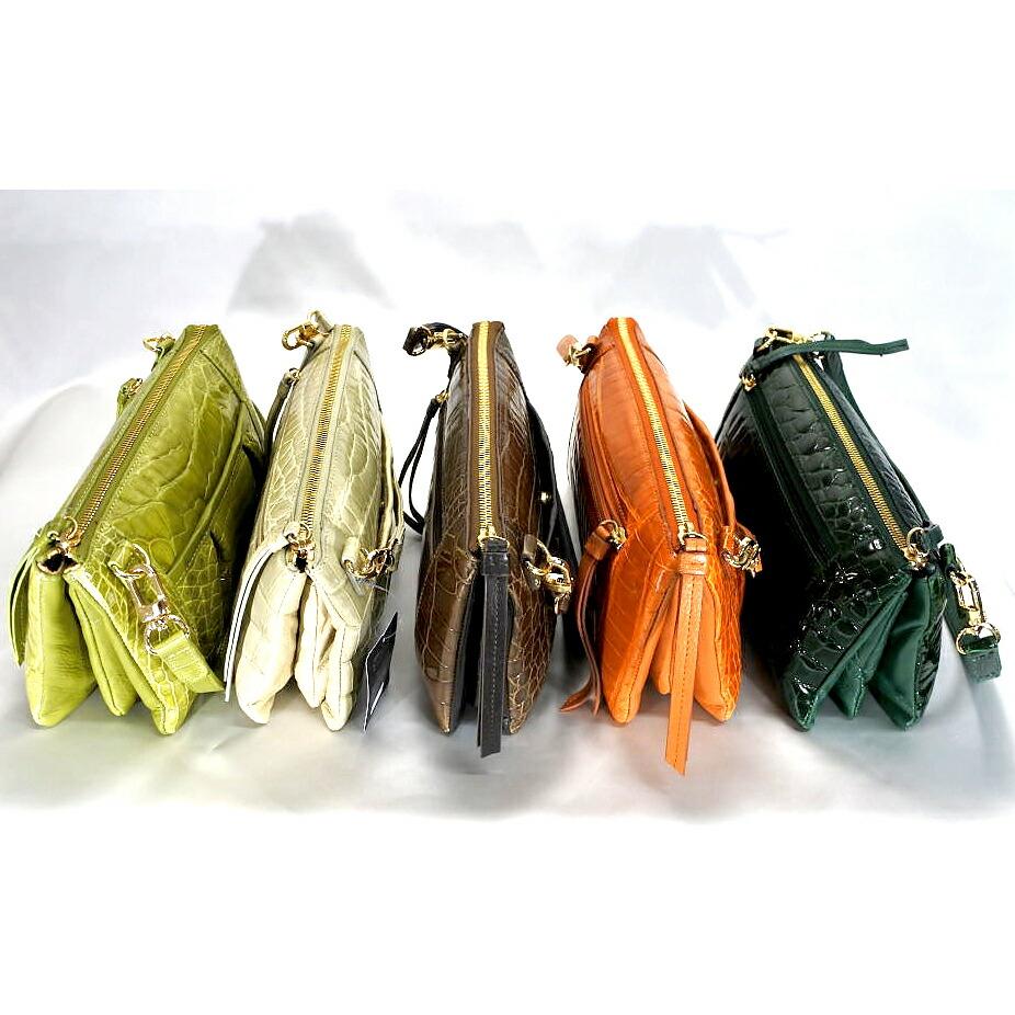 レディース シャイニング加工 クロコダイル ポシェット ショルダーバッグ tb16 本革 エキゾチックレザー
