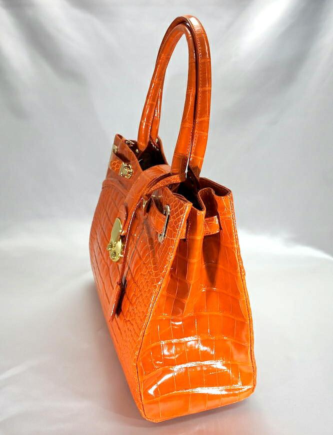 レディース シャイニング加工 クロコダイル ハンドバッグ tb18 本革 エキゾチックレザー