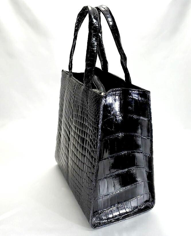 レディース メンズ シャイニング加工 クロコダイル ハンドバッグ tb19 本革 エキゾチックレザー