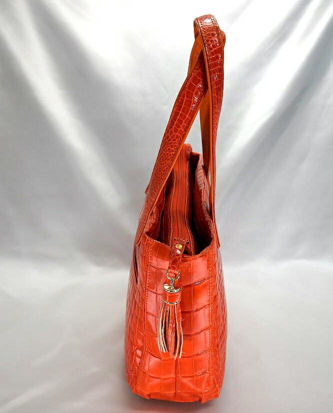 レディース クロコダイル ハンドバッグ シャイニング加工 tb24 本革 エキゾチックレザー