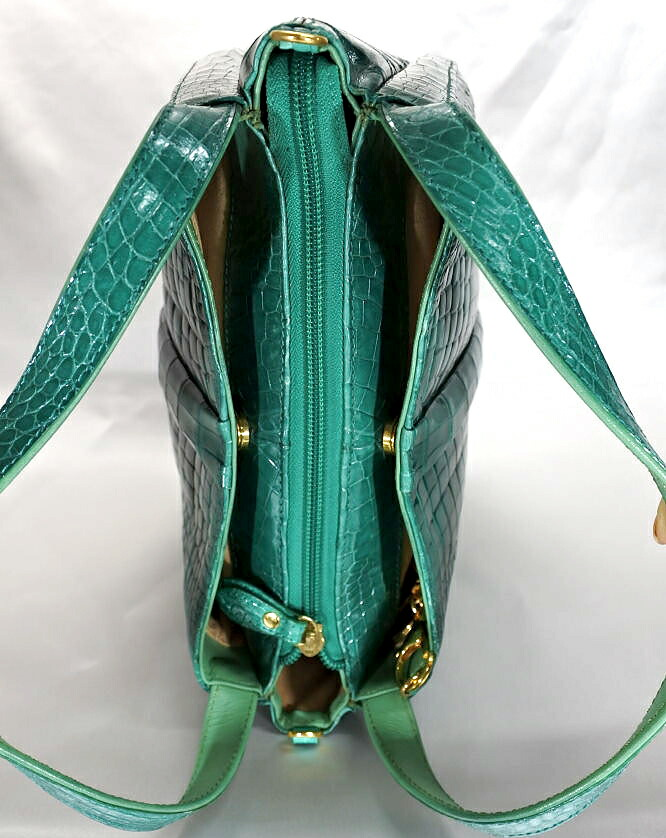 レディース クロコダイル ハンドバッグ シャイニング加工 tb25 本革 エキゾチックレザー