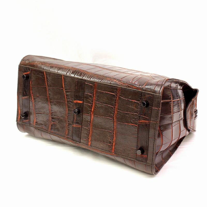 レディース クロコダイル マット加工 ハンドバッグ 2way仕様
