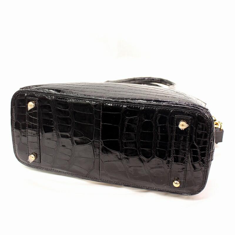 レディース クロコダイル ハンドバッグ シャイニング加工 2wayバッグ