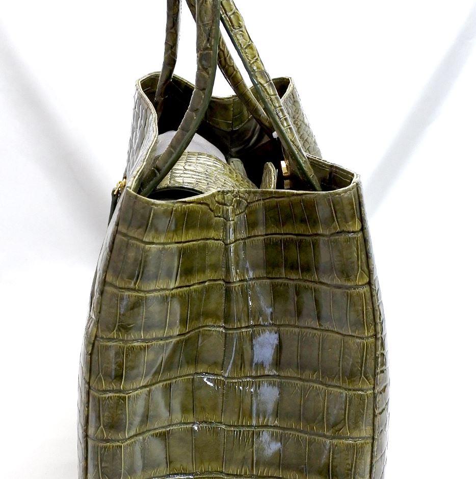 レディース クロコダイル ハンドバッグ トワイライト染め (グリーン) tb7 本革 エキゾチックレザー