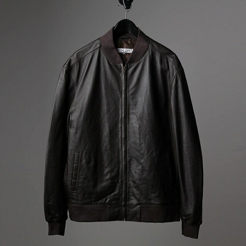 ラム革MA-1ジャケットのブラウン