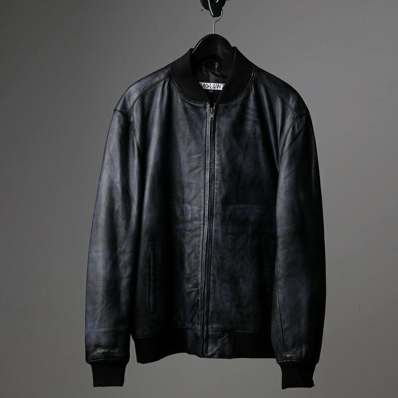 ラム革MA-1ジャケットのネイビー