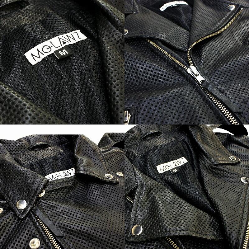 Mo-Laws ラム革 パンチング加工 ダブルライダースジャケット US メンズ mlrj0333p