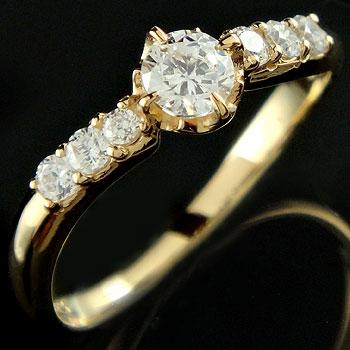 ダイヤモンド リング 婚約指輪 エンゲージリング イエローゴールドk18
