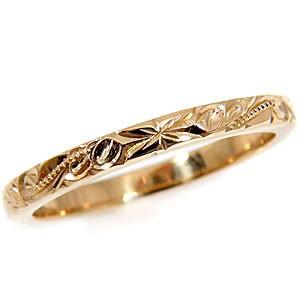 【送料無料】ハワイアンジュエリー:ハワイアンリング:指輪:スクロール(波):ピンクゴールドK18:K18PG:小指に記念にお守りとして:ハワイ【工房直販】