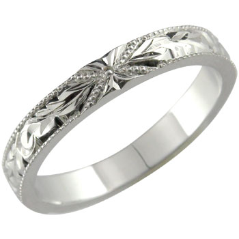 【送料無料】ハワイアンジュエリー:ハワイアンリング:指輪:ホワイトゴールドK18:K18WG:プルメリア(花):スクロール(波):小指に記念にお守りとして:ハワイ【工房直販】