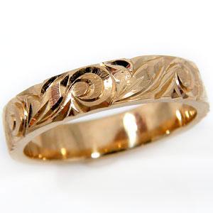 【送料無料】ハワイアンジュエリー:ハワイアンリング:指輪:ピンクゴールドK18:K18PG:マイレ(葉):スクロール(波):小指に記念にお守りとして:ハワイ【工房直販】