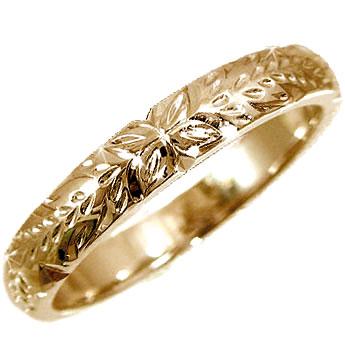 ハワイアンリング,指輪,手彫りK18 指輪【工房直販】