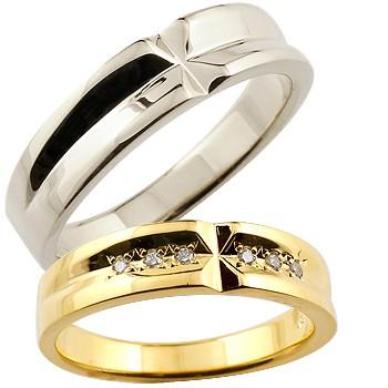 【送料無料・結婚指輪】結婚指輪:ペアリング:ダイヤモンド:ホワイトゴールドK18:クロス:K18WG:ダイヤモンド0.08ct:結婚記念リング:2本セット【工房直販】