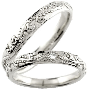 【送料無料・結婚指輪】ペアリング 結婚指輪 マリッジリング プラチナ ダイヤモンド 一粒ダイヤモンド【工房直販】