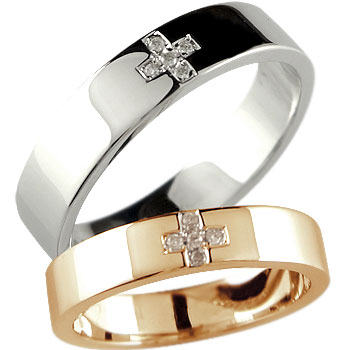 クロス 結婚指輪 マリッジリング ペアリング ダイヤモンド ホワイトゴールドk18 ピンクゴールドk18