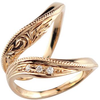 ハワイアンジュエリー ペアリング ダイヤモンド マリッジリング イエローゴールドk18