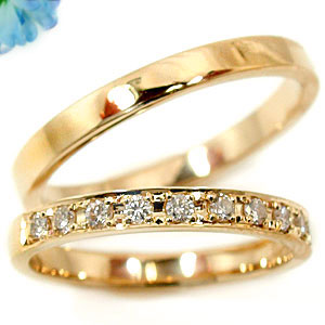 【工房直販】ダイヤモンドペアリング2本セットピンクゴールドK18