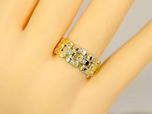 【送料無料・結婚指輪】ダイヤモンドペアリングイエローゴールドK18☆2本セット☆指輪【工房直販】