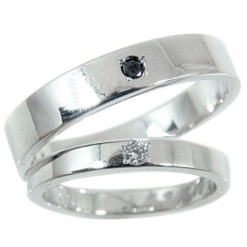 【送料無料・結婚指輪】ペアリング:ダイヤモンド:ブラックダイヤモンド:ホワイトゴールドK18:結婚指輪:ダイヤモンド0.03ct:結婚記念リング☆2本セット☆指輪【工房直販】