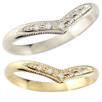 【送料無料・結婚指輪】ペアリング 結婚指輪 ダイヤモンド イエローゴールドk18 プラチナ900 ミル打ち☆指輪【工房直販】