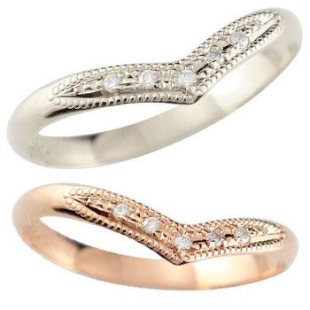 【送料無料・結婚指輪】ペアリング 結婚指輪 ダイヤモンド ピンクゴールドk18 プラチナ ミル打ち☆指輪【工房直販】