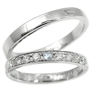 【送料無料・結婚指輪】ペアリング 結婚指輪 マリッジリング プラチナ ダイヤモンド アメジスト ハーフエタニティ【工房直販】