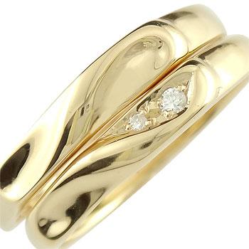【送料無料・結婚指輪】ペアリング 結婚指輪 マリッジリング ダイヤモンド ハート イエローゴールドk18工房直販】