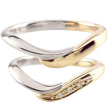 ペアリング プラチナ 結婚指輪 ダイヤモンド マリッジリング ピンクゴールドk18 コンビ