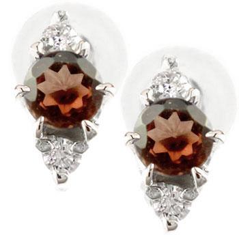 ガーネットピアスダイヤモンド イエローゴールドk18 1月誕生石