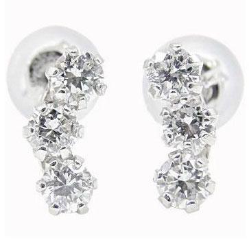 【送料無料】ダイヤモンド:ピアストリロジー:ダイヤモンド0.40ct:スリーストーン:特別価格【工房直販】