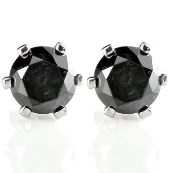 ブラックダイヤモンド プラチナ ピアス 一粒ダイヤモンド 大粒ダイヤモンド